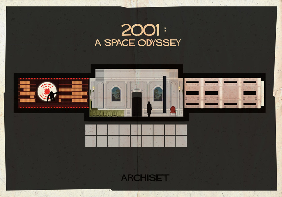 2001 a space odyssey 17 Beautifully Geeky Posters Of Classic Film Interiors