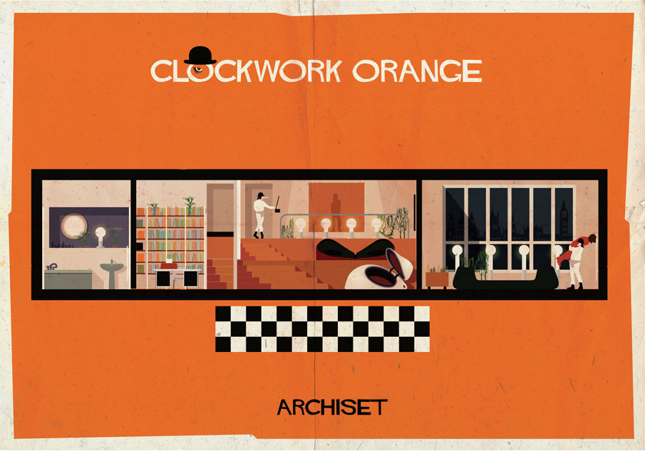 a clockwork orange 17 Beautifully Geeky Posters Of Classic Film Interiors