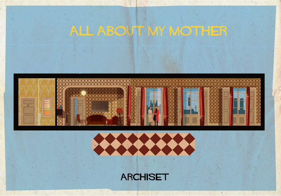all about my mother 17 Beautifully Geeky Posters Of Classic Film Interiors
