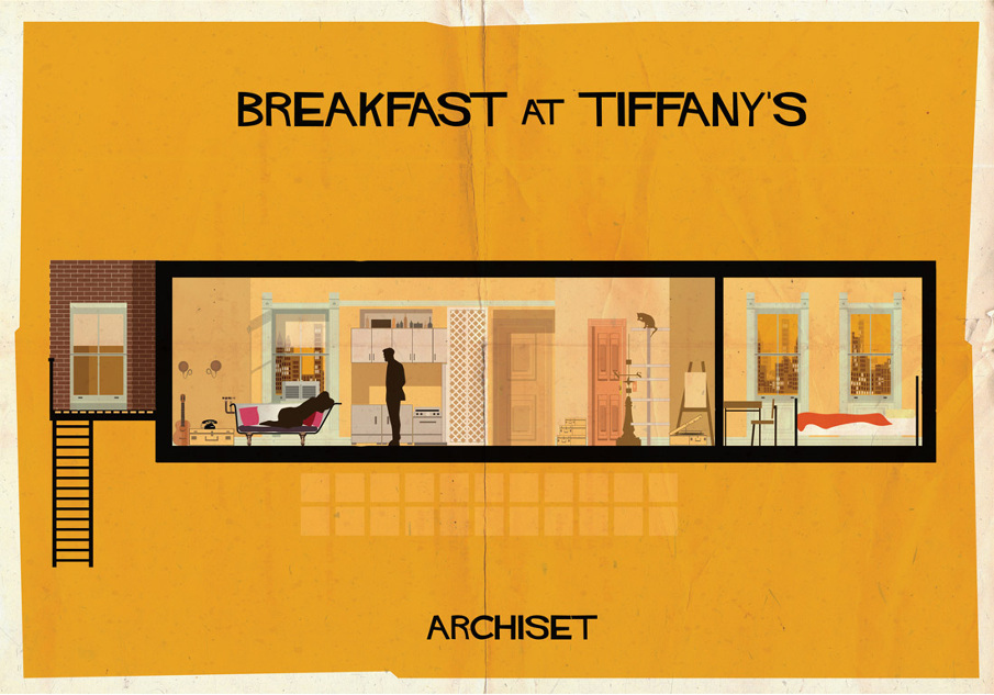 breakfast at tiffanys 17 Beautifully Geeky Posters Of Classic Film Interiors