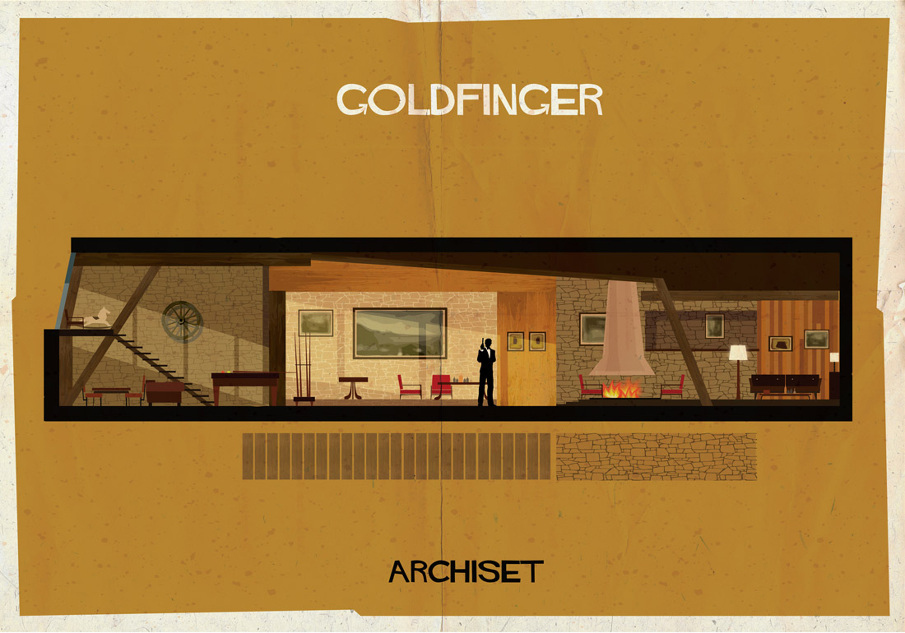 goldfinger 17 Beautifully Geeky Posters Of Classic Film Interiors