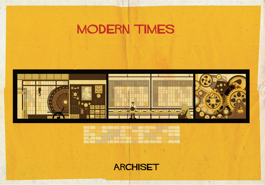 modern times 17 Beautifully Geeky Posters Of Classic Film Interiors
