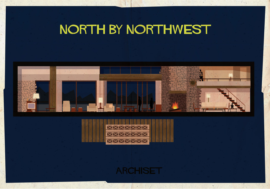 north by northwest 17 Beautifully Geeky Posters Of Classic Film Interiors