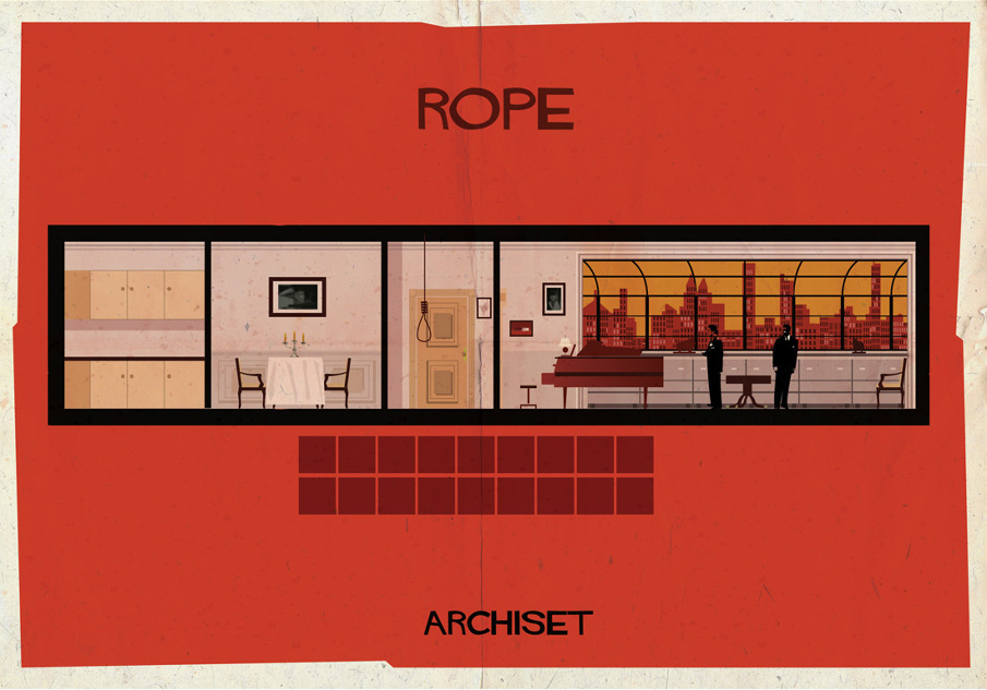 rope 17 Beautifully Geeky Posters Of Classic Film Interiors