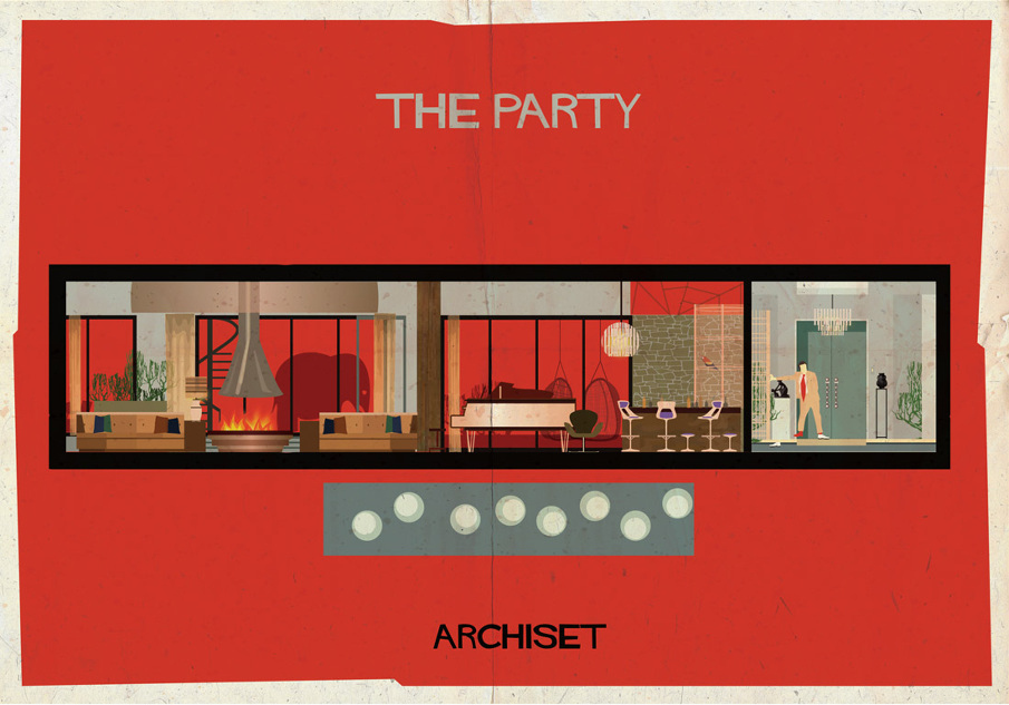 the party 17 Beautifully Geeky Posters Of Classic Film Interiors